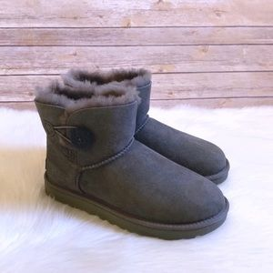 UGG Grey Mini Bailey Button II Boots